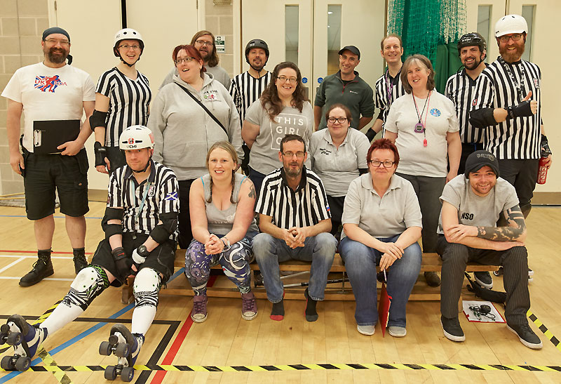 Refs, NSOs and helpers supporting England Roller Derby