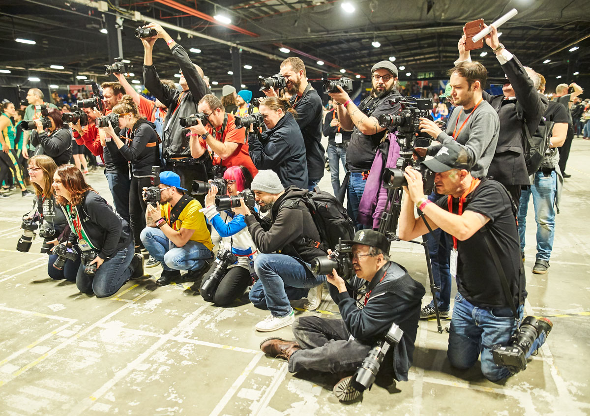 Photographers clutser round to photograph the winners (USA) of the third World Cup held in Manchester