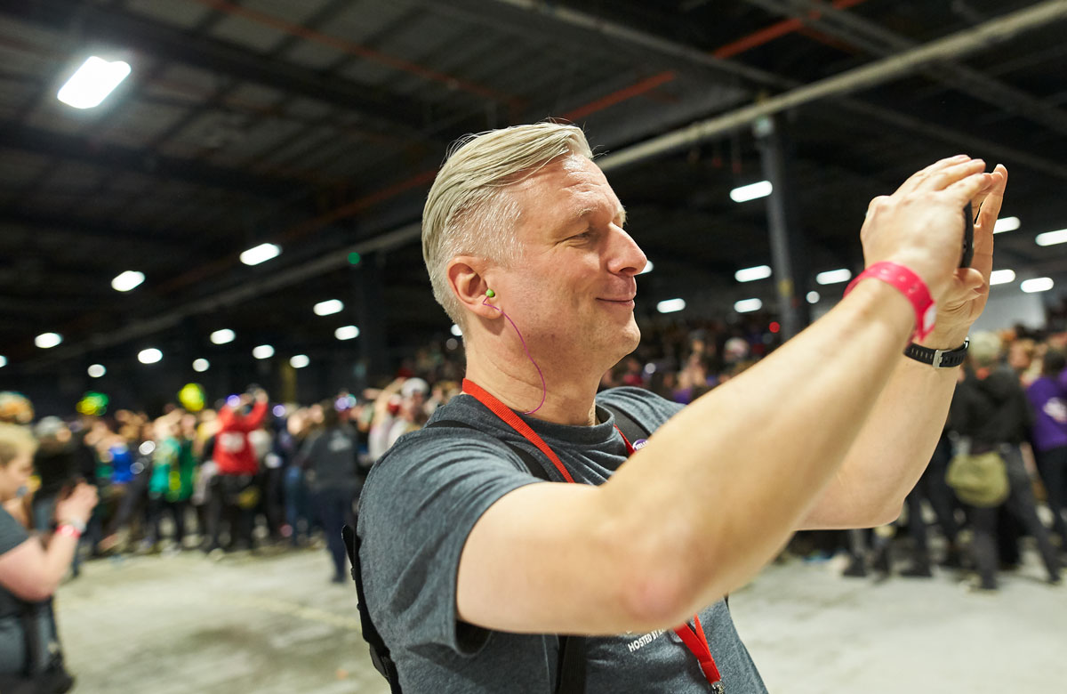 Jurgen Ziegler films the crowd at the end of the Roller Derby World Cup