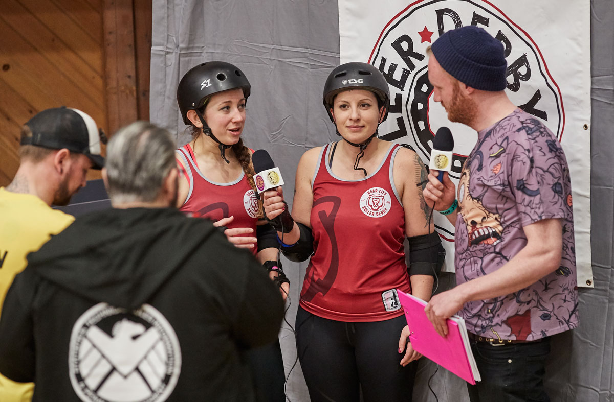 Interviewing skaters from Bear City after a bout