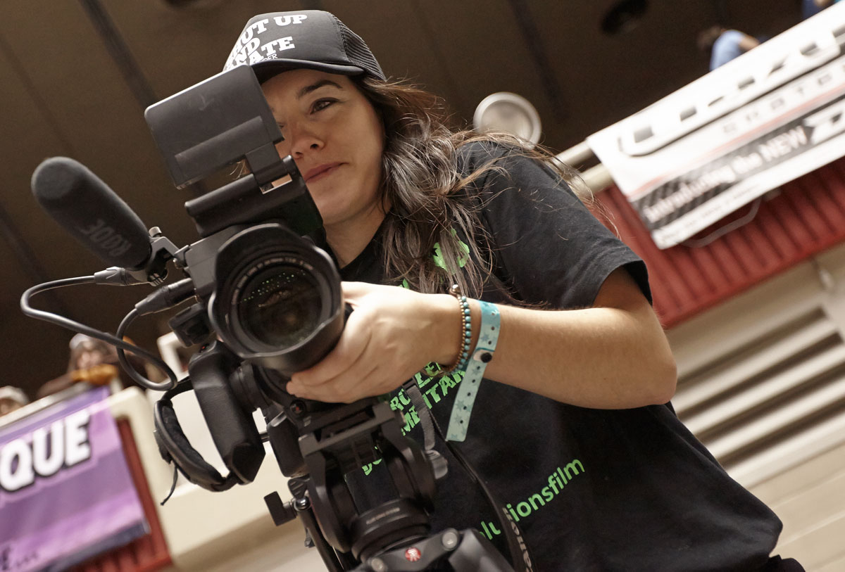 Filming the final day of the Roller Derby World Cup