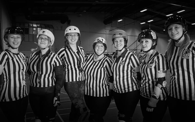 The first all-female ref crew for an MRDA sanctioned bout in the UK, 2016