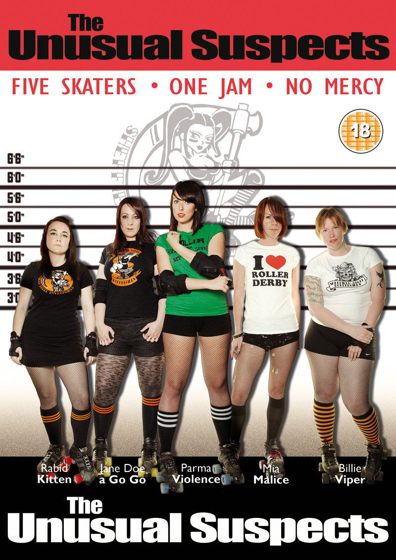 The Unusual Suspects from the Sheffield Steel Rollergirls film calendar